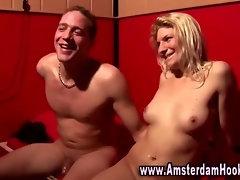 Watch this dutch whore get a cumshot