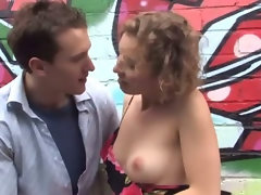 Outdoor amateur couple risk it in public and a random parking lot