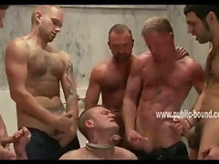 Naughy hunks get away from boyfriends and unaware wives and fuck slave in restroom in gay gangbang
