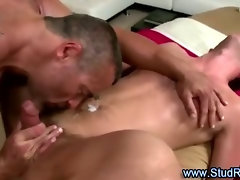 Mature gay masseur assfucks his straight client