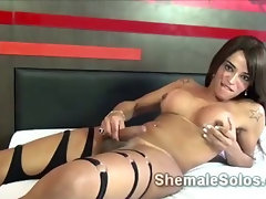 Latino shemale Vanessa McLayne loves to play with her own penis in front of the camera