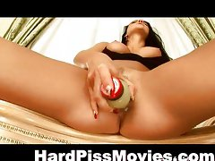 Teen fondling big assets and pissing