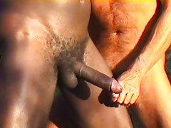 Outdoor gay interracial blowjob
