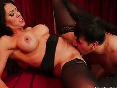 Busty Latina cougar waitress seduces coworker