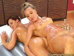 Amazing Nuru massage in lesbian action