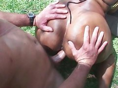 Big ass ebony outside pussy hammering