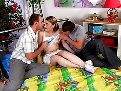 Threesome teen penetration