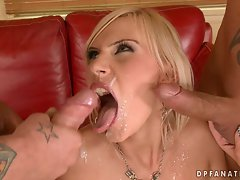 Bea Stiel letting two guys tag team her and bust their loads on her