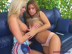 Filthy whore Chloe Sweet enjoys fondling boobs with a lesbian fella