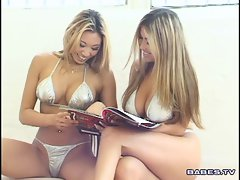 Lesbo loving for exotic babe Miko Lee and her slutty little friend