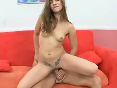 Dakota Brookes gets her tiny twat thrusted hard by a thumping tool