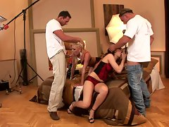 Honey Winter and her friend swallow big dicks