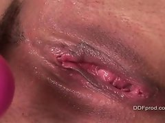Alexandra Silk gets her pink toy wet after filling her sweet pussy