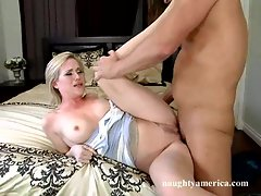 Big tit babe Naomi Cruise loves getting screwed hard on the bed