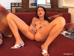 Sexy slut Stacy Stone drills her tight pussy with her large dildo