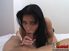 Sexy Latina Rebecca Linares gags on a massive cock