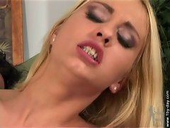 Julie Silver takes a hurting from a cock fight and moans in pain