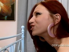 Claudia Ferrari takes an ass ramming in her tight hole and drinks up hot jizz