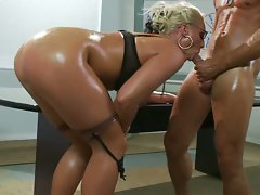 Busty tatoo Milf Sadie Swede lick a big dick and get hardcore in anal