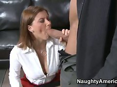 Horny Sara Stone gets sucked and fucked in her lingerie in her office