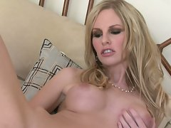 Horny Aimee Addison fucks her own ass with a fun toy until she's satisfied