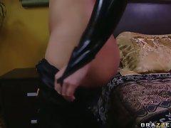 Big-breasted Katja Kassin puts on a skin tight leather undies