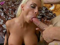 Pornstar Holly Halston takes an enormous mouth full of hot cum