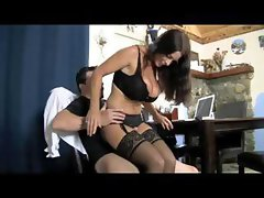 Brunette sex therapist gives a lesson in some hot fucking action