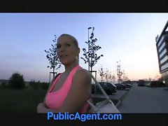 Russian blonde is picked up and sucks and gets nailed in the bushes