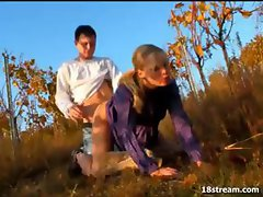 Blonde Agata is outside blowing Karel and getting drilled