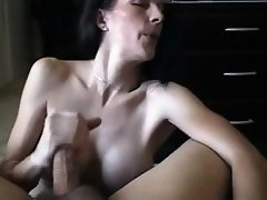Busty brunette wife is giving a nice POV blowjob cheating on her man