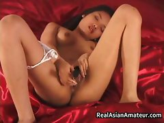 Petite asian in see through panties
