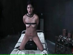 Brunette is tied up and gagged and tortured by her master