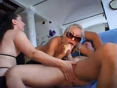 Busty mature Italians take turns banging cock and fisting pussy