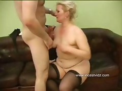 Chubby blonde mom does her son's friend and gets banged for cum