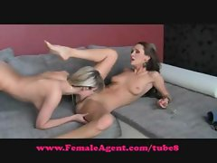 Brunette Sylvia is interviewed and cast and eats some pussy