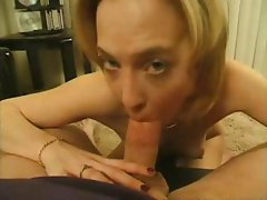 Cute little blonde is giving him head in POV and gets a load