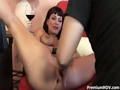 Brunette MILF Carrie Ann gets a hard cock to eat and fuck and get cum