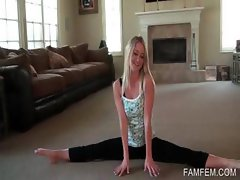 Work out scene with hot blonde