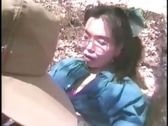 Asian girl Satomi is outside getting double pumped with DP and cumshot