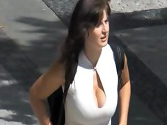 Video of these busty hot looking babes walking around on the street