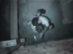 Hidden camera catches this couple going at it outside at night