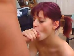 Girl with purple hair eats his dick and then gets nailed in the ass