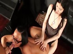 Two girls put on a show and then share a hard cock in threesome