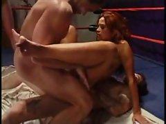 Redhead with big tits gangbanged