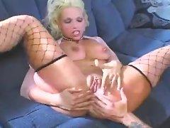 Blonde bimbo in fishnets is anal fiend