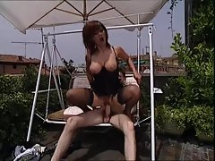 Rooftop sex with Italian milf in lingerie