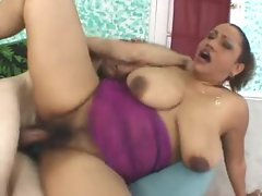 Shaved fat black mature loves white cock