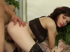 Sex with a cute hairy girl in stockings