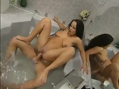 Beauty in bathtub has anal sex